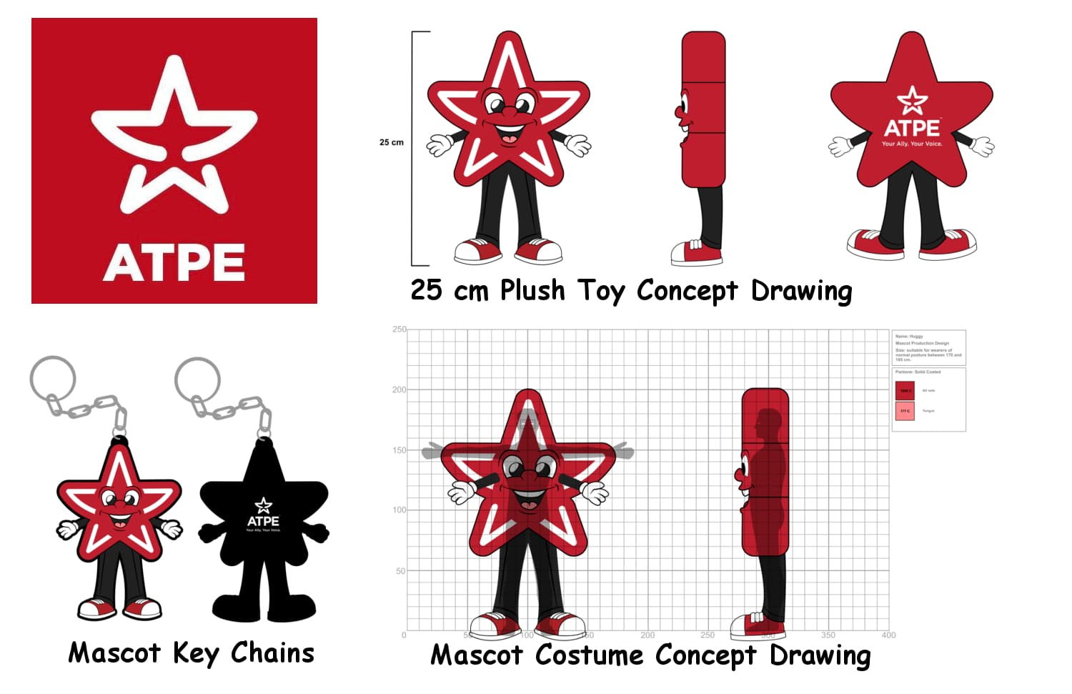 ATPE Mascot Costume Key chains and plush toys Concept Drawing -Promo Bears-