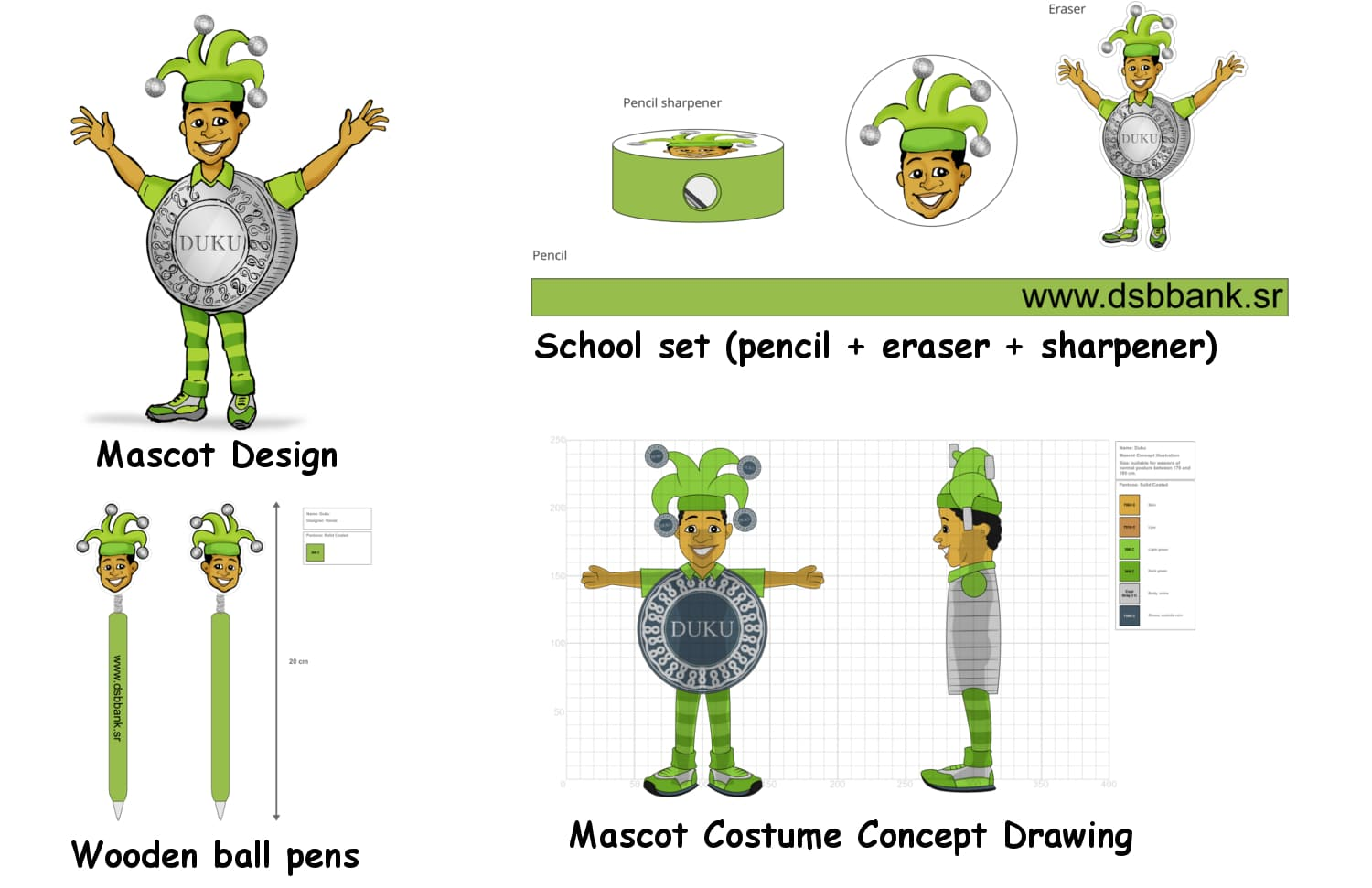 DUKU Mascot Concept Drawings Mascot Costume, Schoolsets and Wooden pens -Promo Bears-
