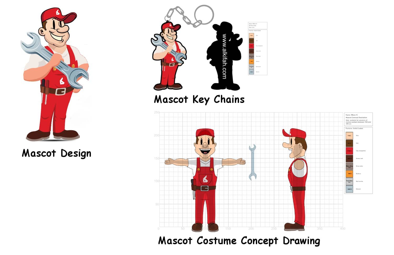 Mister K Al Kifah Motors Mascot and Key chains Concept Drawing -Promo Bears-