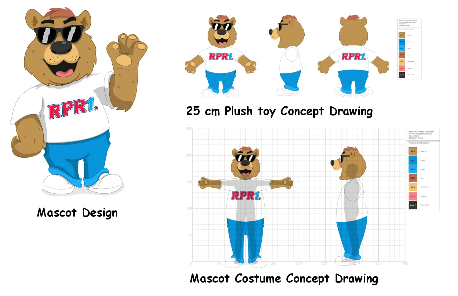 Radio Bear FREE Concept Drawings Mascot and Plush toy