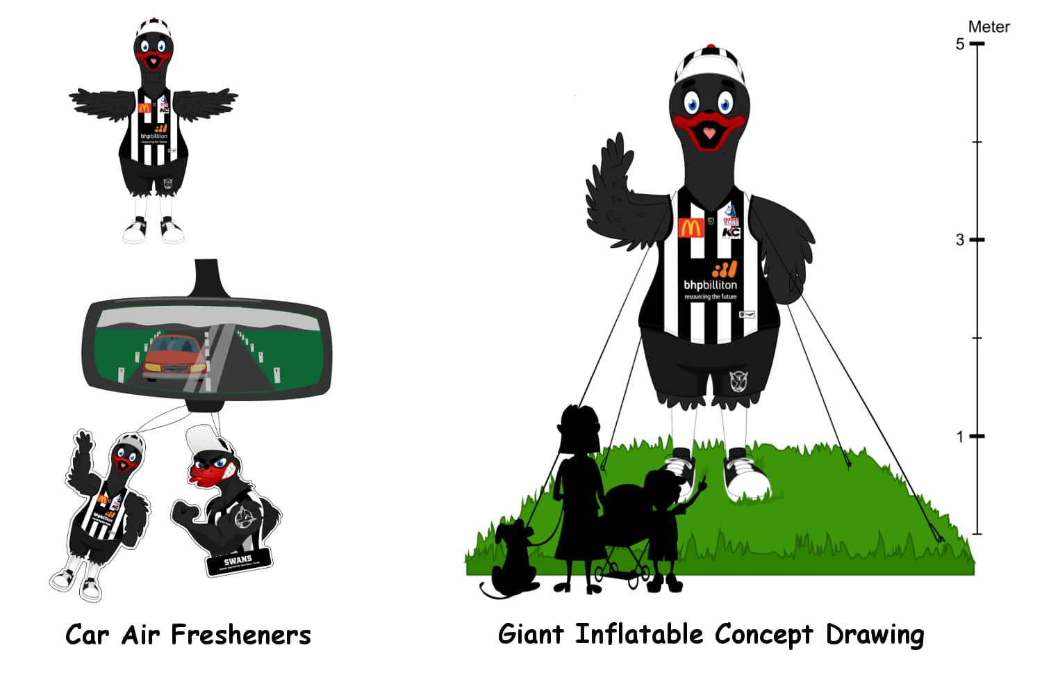 SFC Mascot Inflatable and Car Air Fresheners Concept Drawing -Promo Bears-