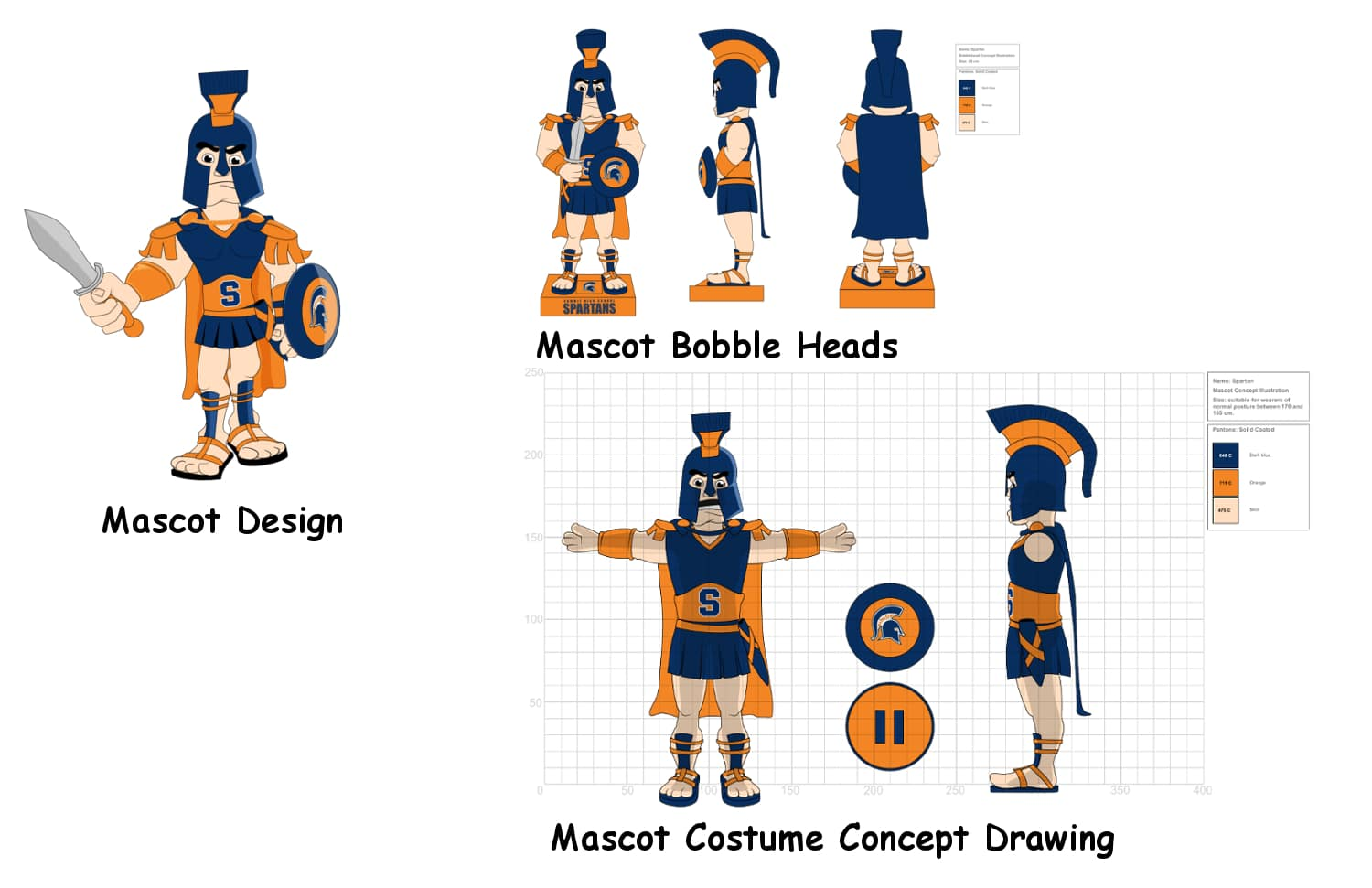 Summit High School Mascot Costume and Bobble Heads Concept Drawing -Promo Bears-