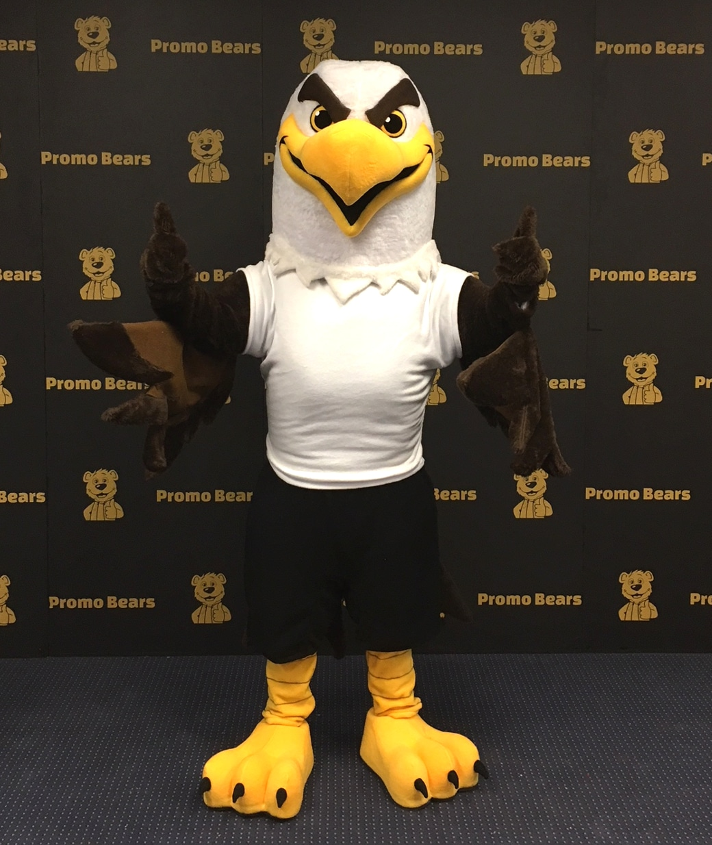 Eagle Mascot with custom clothing set with logo and branding