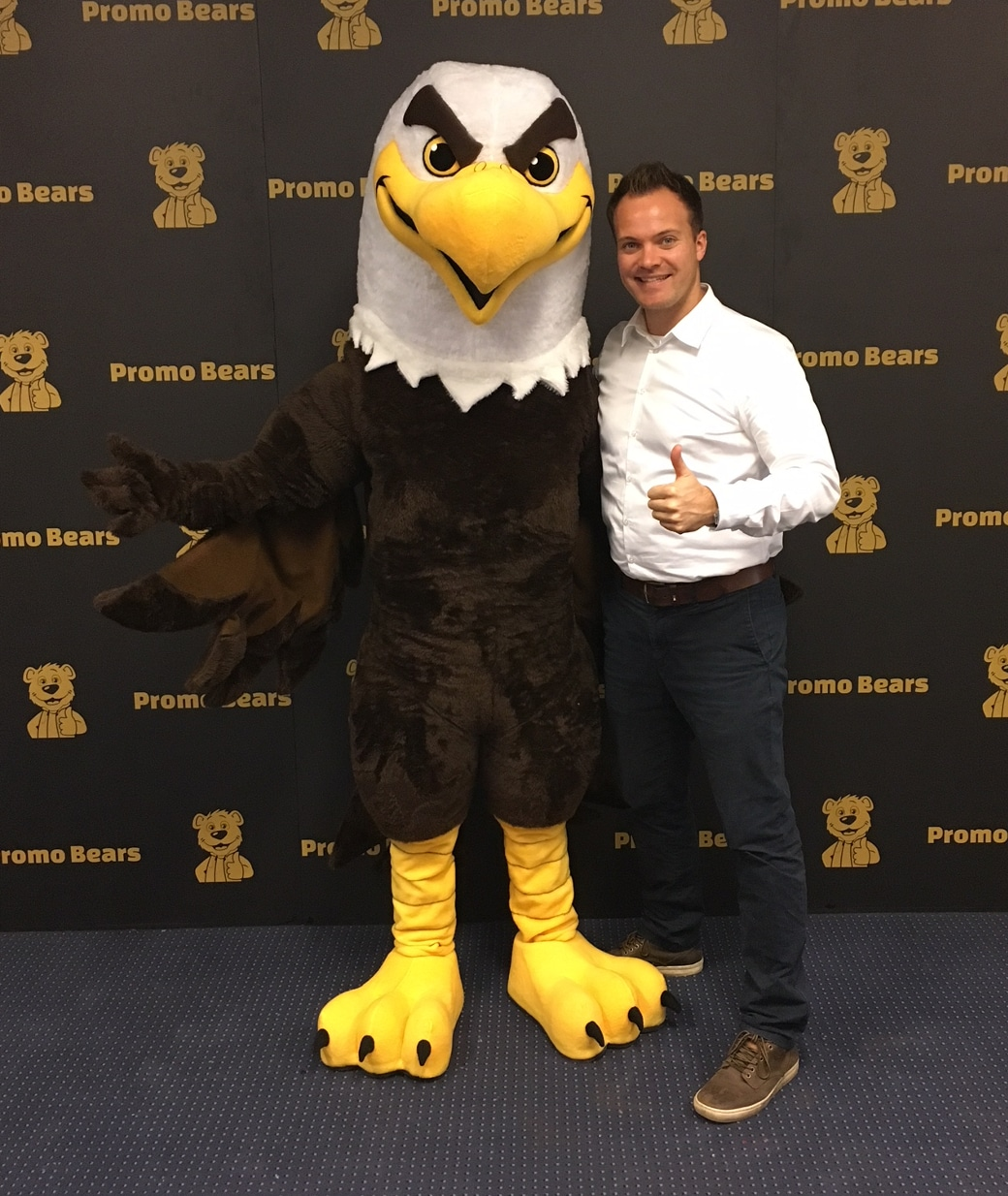 Eagle Mascot Costume with person for proportions