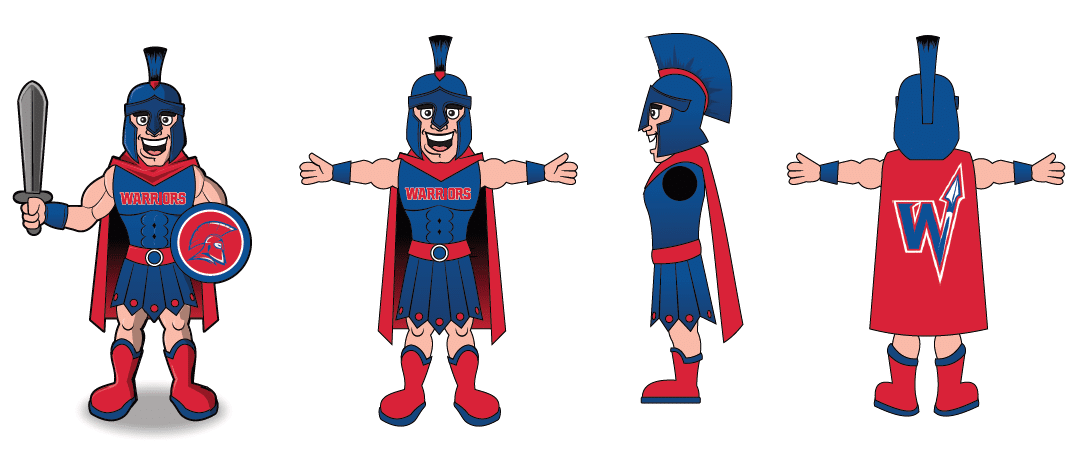 Custom Mascot Costume Concept Illustration - Willy the Warrior