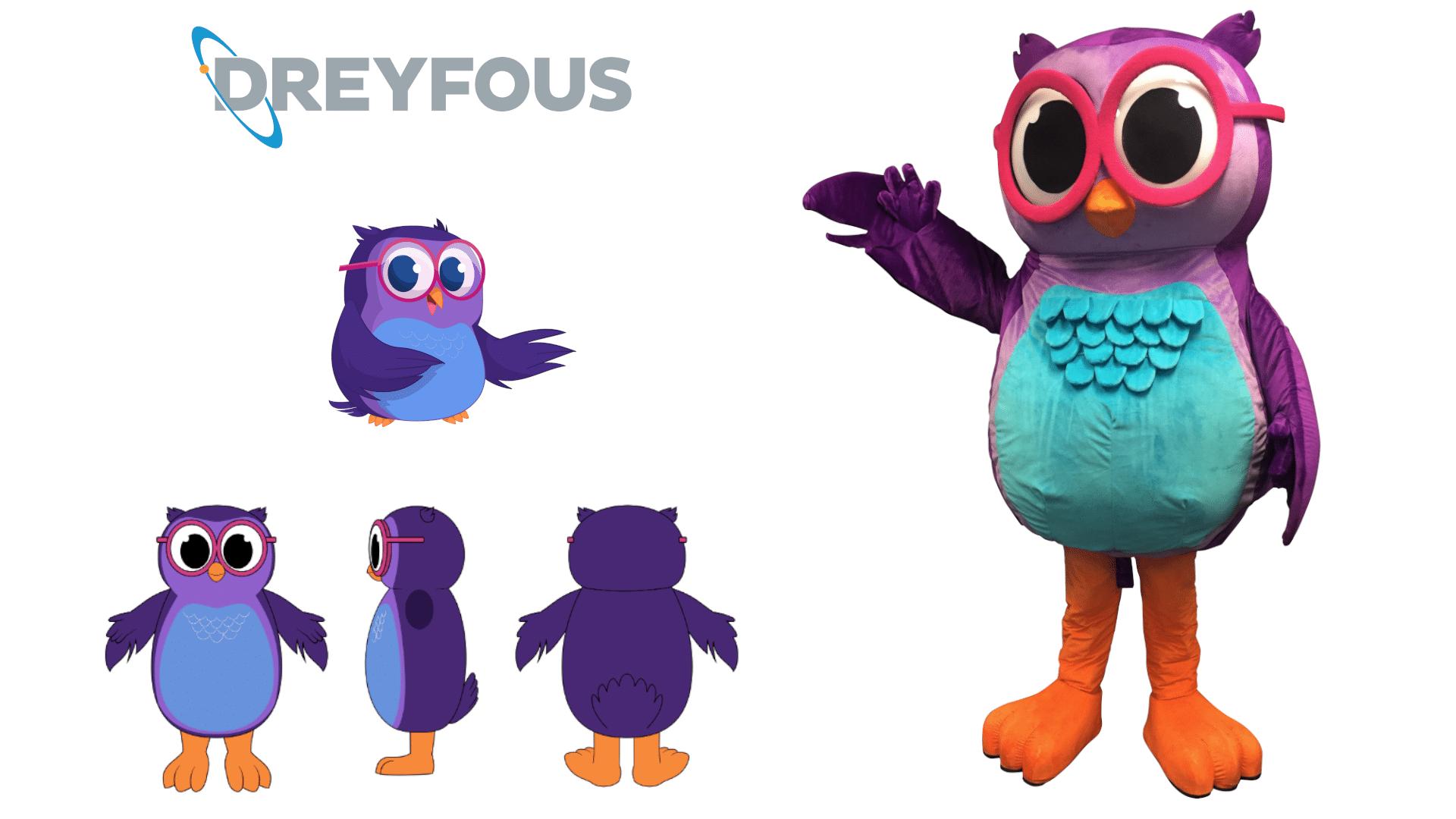 Custom-Mascot-Costume-Owl-Dreyfous-Assoc-by-Promo-Bears
