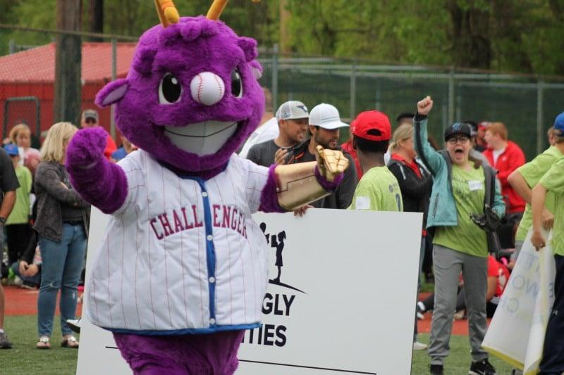 Purple Baseball Mascot