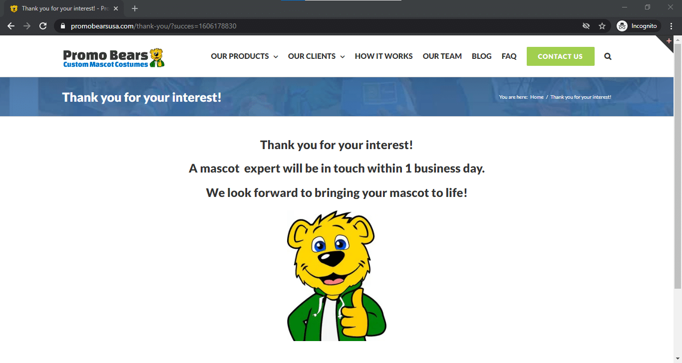 Thank You Page - Ben the Bear with Thumbs Up