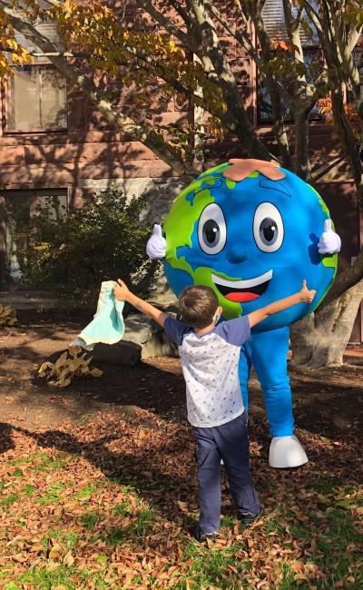 Custom Earth Mascot and Child